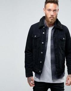Черная вельветовая куртка в стиле вестерн с воротником борг ASOS - Черный