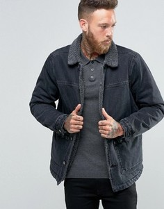 Черная выбеленная джинсовая куртка с подкладкой из искусственного меха ASOS - Черный