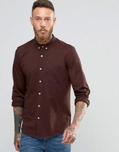 Трикотажная рубашка классического кроя ASOS - Коричневый