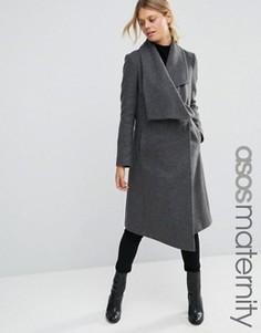 Пальто-трапеция для беременных с каскадной отделкой ASOS Maternity - Серый