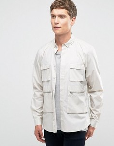 Свободная рубашка навыпуск в стиле милитари ASOS - Stone
