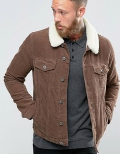Коричневая вельветовая куртка в стиле вестерн с меховым воротником ASOS - Коричневый