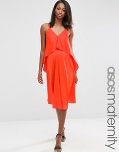 Двухслойное платье миди для беременных ASOS Maternity - Оранжевый