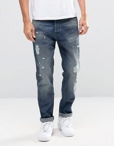 Голубые выбеленные джинсы антифит с рваной отделкой Jack & Jones Intelligence - Черный