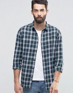 Клетчатая рубашка с начесом Only & Sons - Зеленый