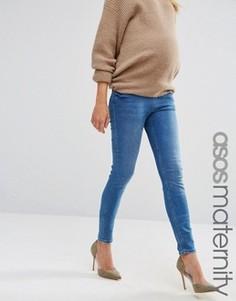 Темные джинсы скинни для беременных из стираного денима с поясом под животом ASOS Maternity Lisbon - Синий