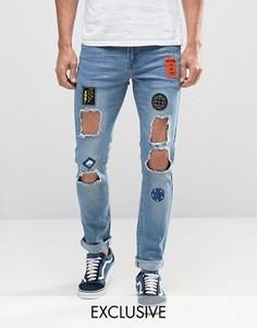Рваные зауженные джинсы Heros Heroine - Синий