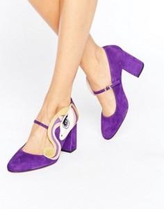Фиолетовые туфли на каблуке с отделкой единорог Minna Parikka Sparks - Мульти