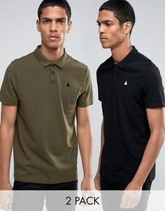 2 футболки-поло из пике с логотипом (черная/хаки) ASOS - СКИДКА 13 - Мульти