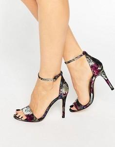 Сандалии на каблуке с цветочным принтом Dune Malla Barely There - Мульти