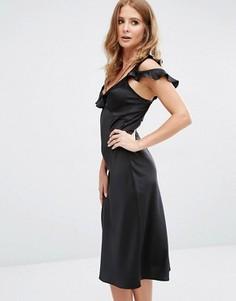 Платье-комбинация миди с оборкой Millie Mackintosh - Серебряный