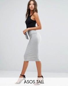 Трикотажная юбка-карандаш ASOS TALL - Серый