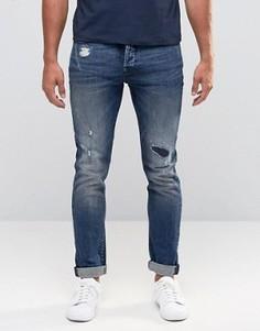 Стретчевые джинсы скинни с рваной отделкой и заплатками Only & Sons - Синий
