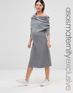 Платье для беременных со свободным воротом ASOS Maternity LOUNGE - Серый