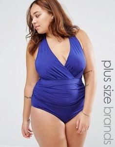 Слитный купальник с запахом и глубоким вырезом Robyn Lawley - Синий