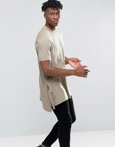 Бежевая длинная футболка-трапеция с разрезами и завязками по бокам ASOS - Бежевый