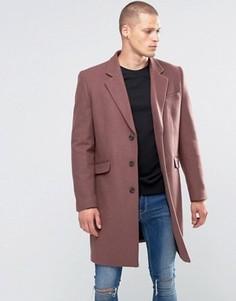 Полушерстяное розовое пальто ASOS - Розовый