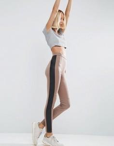 Зауженные брюки из полиуретана с отделкой на коленях в байкерском стиле ASOS - Мульти