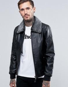 Кожаная куртка со съемным воротником из искусственного меха Schott - Черный