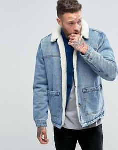 Синяя джинсовая куртка с подкладкой из искусственного меха от ASOS - Синий