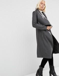 Пальто-трапеция с драпировкой с добавлением шерсти ASOS - Серый