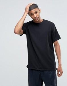 Черная меланжевая футболка стандартного кроя ASOS - Черный