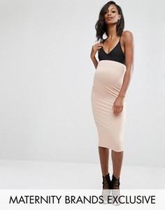 Трикотажная юбка миди для беременных Missguided Maternity - Бежевый