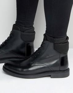 Черные кожаные ботинки на шнуровке с неопреновыми манжетами ASOS - Черный