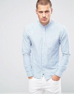Льняная рубашка в полоску с воротником на пуговице Scotch and Soda - Синий