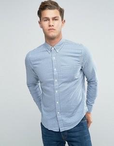 Синяя рубашка слим в клеточку Abercrombie & Fitch - Синий