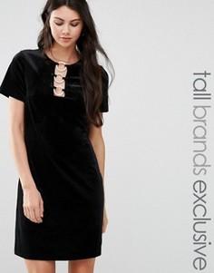 Бархатное цельнокройное платье Glamorous Tall - Черный