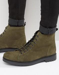 Замшевые ботинки хаки на толстой подошве со шнуровкой ASOS - Зеленый
