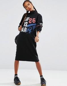 Трикотажное платье миди в стиле пэтчворк с высокой горловиной ASOS - Черный