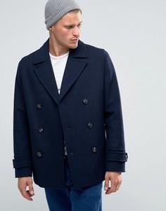 Темно-синее полушерстяное пальто-бушлат ASOS - Темно-синий