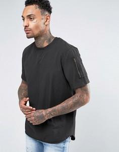 Черная тканая футболка классического кроя с карманом на рукаве ASOS - Черный