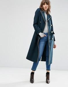 Пальто миди из смесовой шерсти с отделкой в стиле милитари ASOS - Зеленый