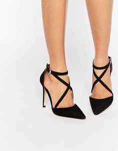 Туфли на каблуке с острым носом и ремешками накрест Miss KG Shelby - Черный