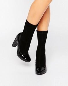 Черные полусапожки на каблуке с эффектом носков Daisy Street - Черный