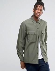 Рубашка навыпуск цвета хаки с 2 карманами ASOS - Зеленый
