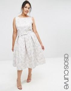 Жаккардовое платье миди для выпускного ASOS CURVE WEDDING - Мульти