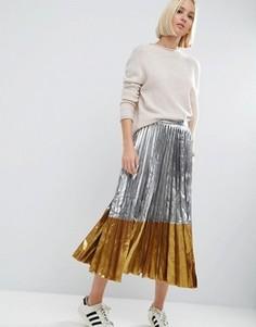 Плиссированная юбка миди ASOS - Серебряный