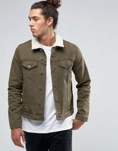 Джинсовая куртка слим цвета хаки с меховым воротником ASOS - Зеленый