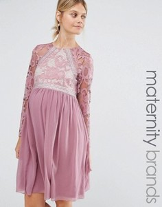 Короткое приталенное платье для беременных с длинными рукавами Little Mistress Maternity - Фиолетовый