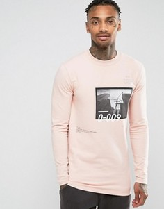Удлиненный облегающий свитшот с фотопринтом и надписью ASOS - Розовый