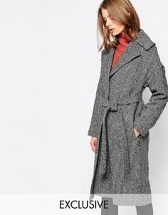 Пальто с oversize-воротником и узором в елочку Helene Berman - Черный