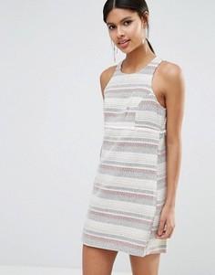 Цельнокройное платье из твида с бахромой BCBGeneration - Мульти