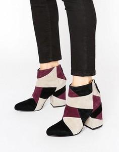 Кожаные полусапожки на каблуке в стиле пэтчворк Senso Jessica - Красный