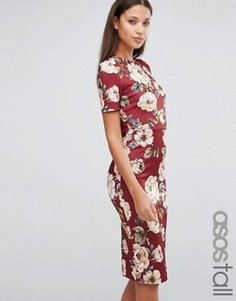 Бордовое облегающее платье-футболка с цветочным принтом ASOS TALL - Красный
