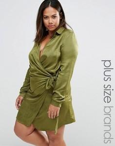 Атласное платье с запахом и завязкой Missguided Plus Size - Зеленый