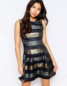 Короткое приталенное платье с полосками цвета металлик AX Paris - Темно-синий